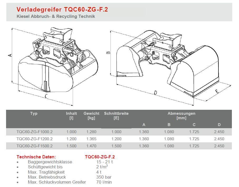 [Other] Kiesel Zweischalen - Verladegreifer TQC60 - 800 Li
