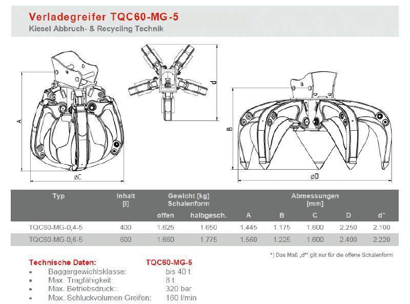 [Other] Kiesel Verladegreifer TQC60 - 600 Liter