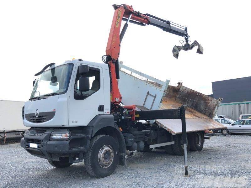 Renault KERAX 370 6x4 bi-benne et grue pk15500
