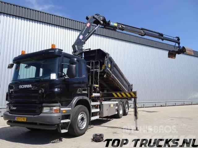 Scania P360, 6x2, 3 zijdige kipper + HMF 24 TM kraan, Lif