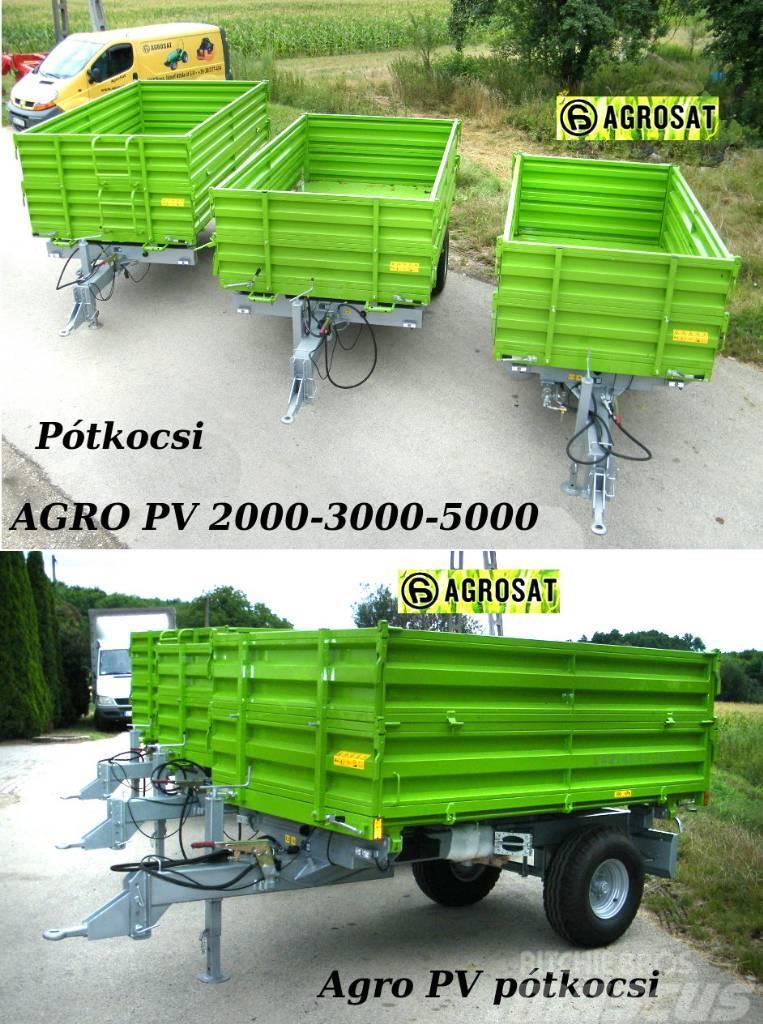 Agro PV 2t pótkocsi Tuber traktorhoz egy tengelyes  pót