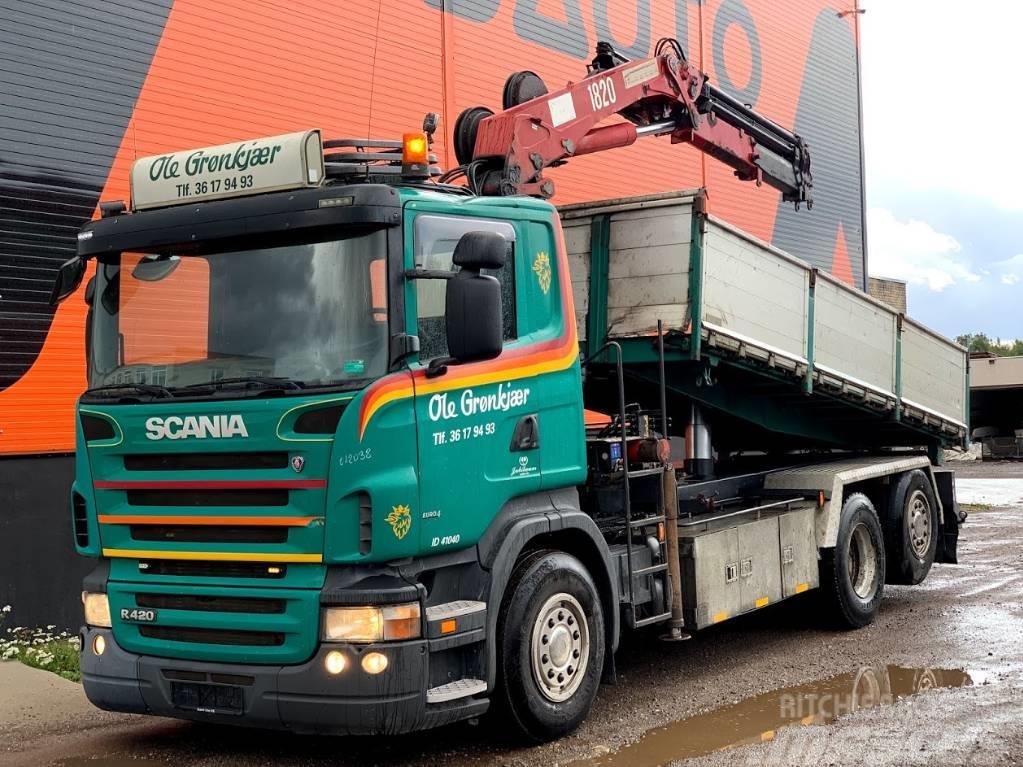 Scania R420 Three side Tipper+HMF 1820