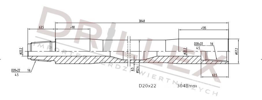 Vermeer D20x22, D24x26 Drill pipes, żerdzie wiertnicze