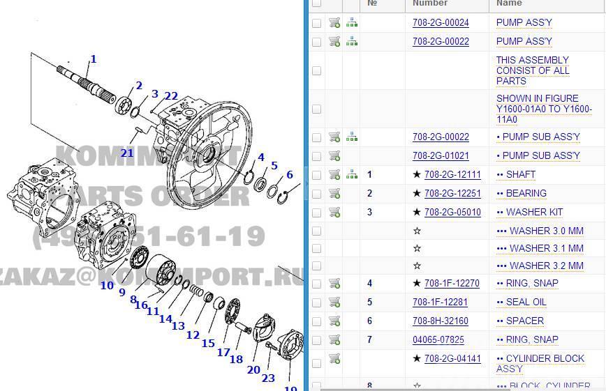 Komatsu PC300-7 main pump spare parts