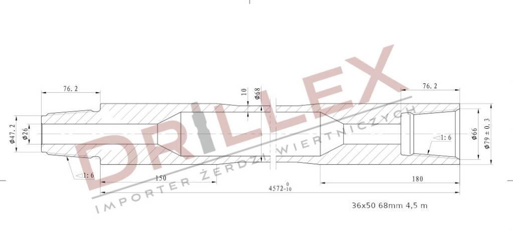 Vermeer D36x50 Φ68 4,5m Drill pipes, żerdzie