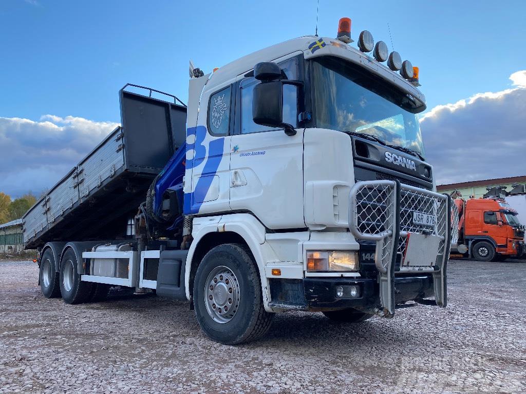 Scania R144GB6X4 460 Kran och Tipp
