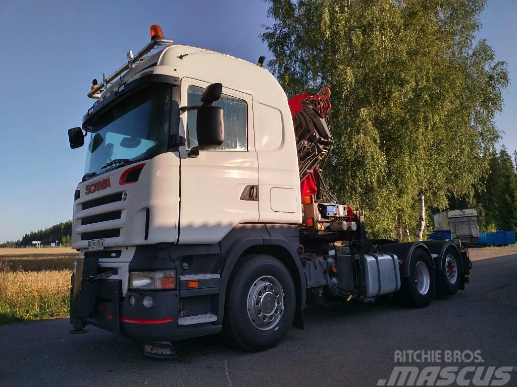 Scania R420 6x2 veturi, HMF3720 nosturi+jibi