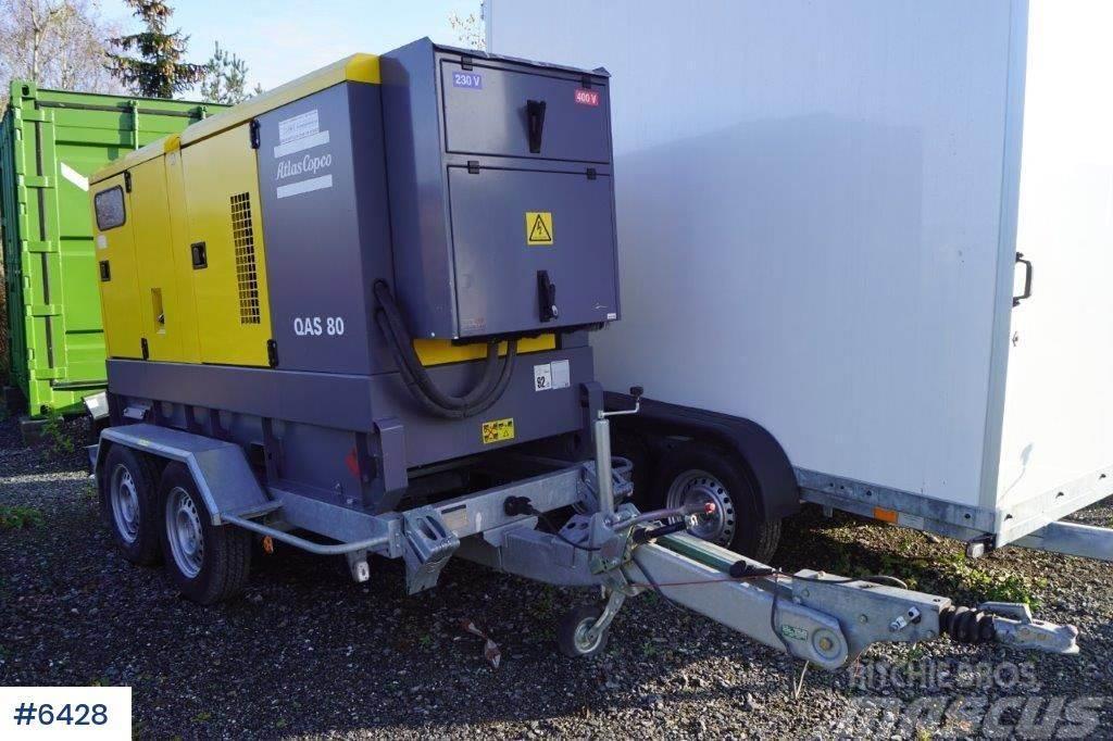 Atlas Copco QAS80 generator on trailer