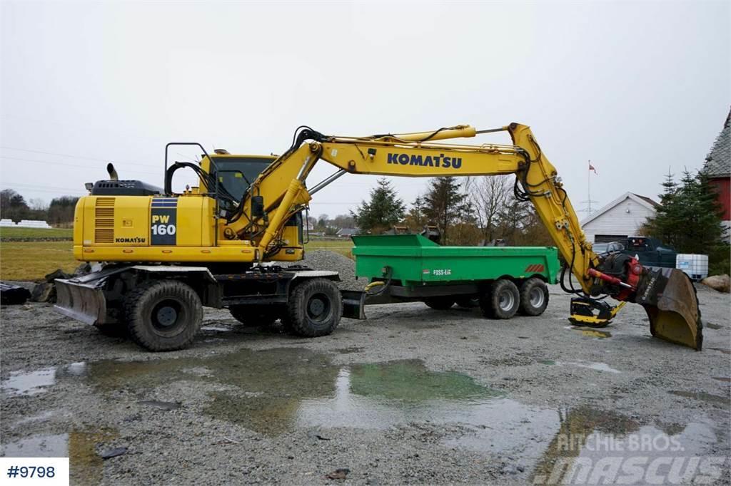 Komatsu PW160-8 Wheeled excavator with good tires, rotor t
