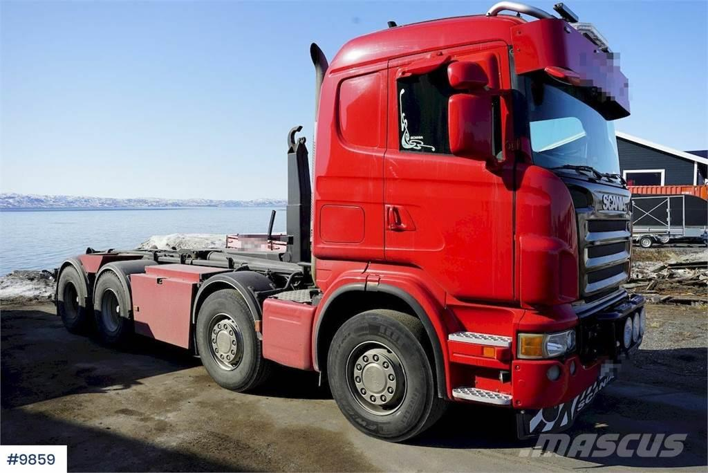Scania R480 8x4 hook lift w / box & Maur trailer