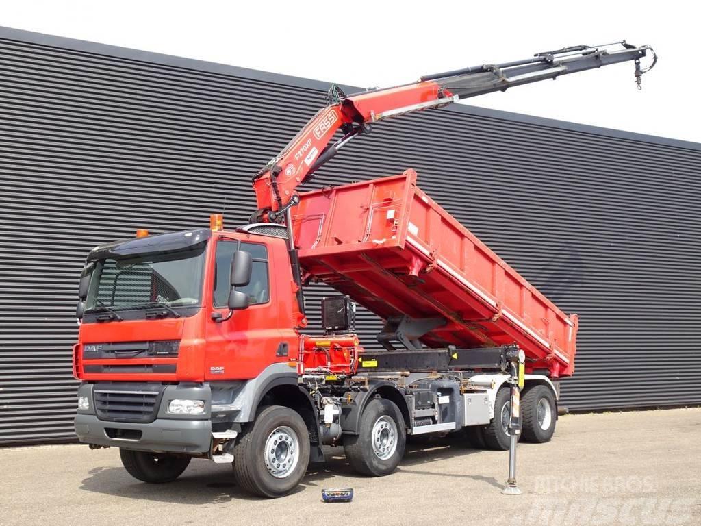 DAF CF 85.460 8x4 / FASSI 27 t/m crane / 3 SIDE TIPPER