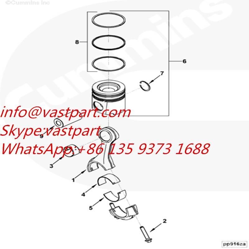Cummins QSB4.5 Engine Piston Kit 4089462,3939398,4089460