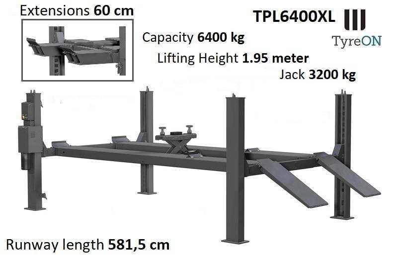 TyreOn TPL6400XL   4 post lift   5.8m   6.4T