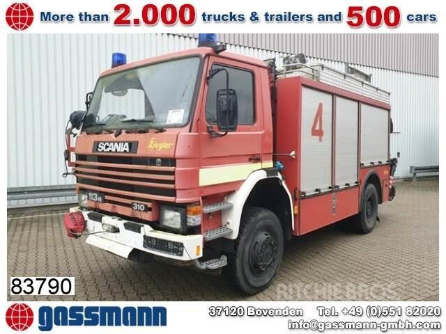 Scania 113 PH 4x4 Feuerwehr Rüstwagen, Kran HIAB 071,