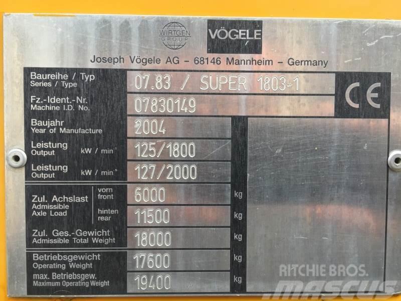 Vögele Super 1803-1, Typ. 07.83, 2004, Asfaltsläggningsmaskiner