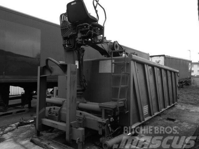 Meiller Abrollcontainer mit Kran & Holz/Schrott Greif