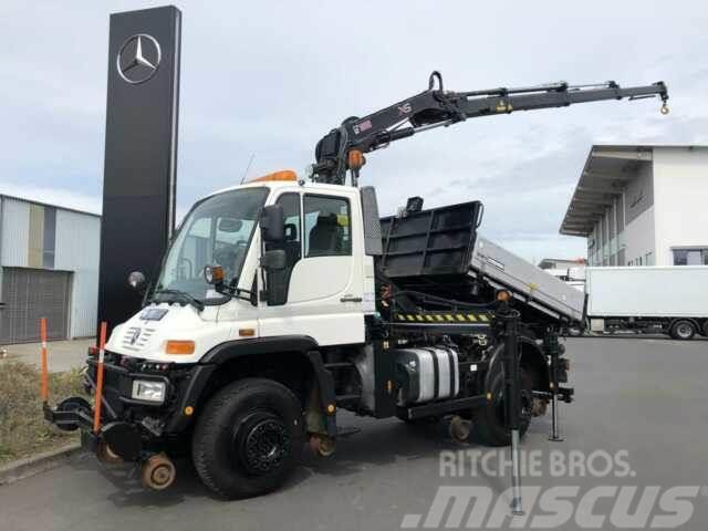 Mercedes-Benz Unimog U400 4x4 Zweiwege Kipper Kran Funk 2x AHK