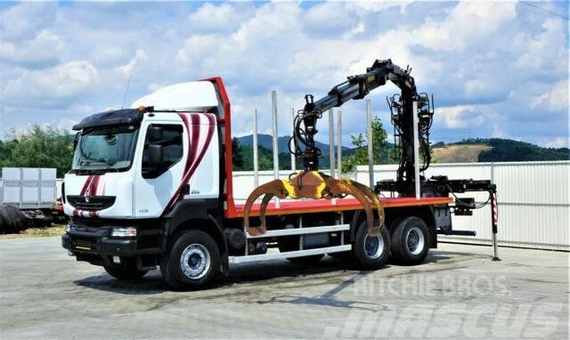 Renault KERAX 520 DXI Holztransporter+Kran*Topzustand