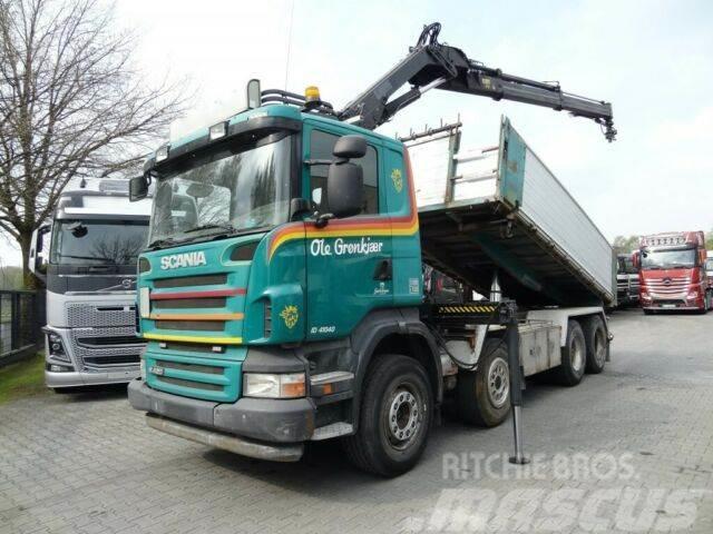 Scania R420 8X2 Kipper mit Kran HIAB 144