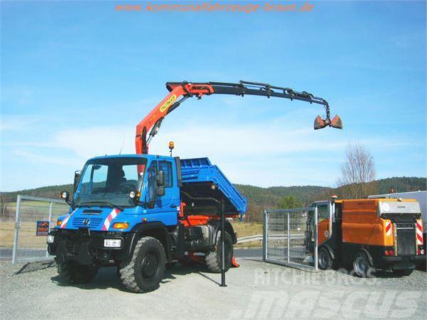 Unimog U400 Hiab Funk Kran+Zugseilwinde+Bergestütze TOP