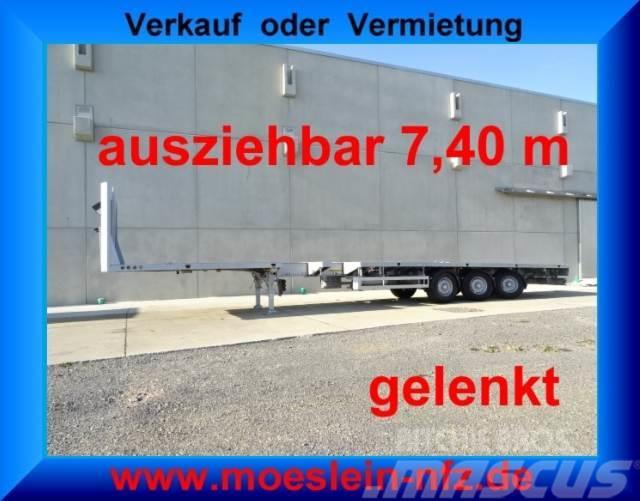 Meusburger 3 Achs Tele Sattelauflieger, 7,40 m ausziehbar, g