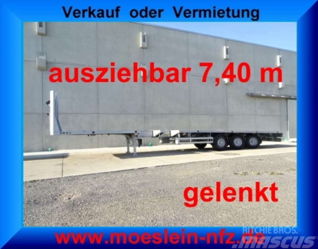 Meusburger MPS-3 3 Achs Tele- Sattelauflieger, 7,40 m auszie