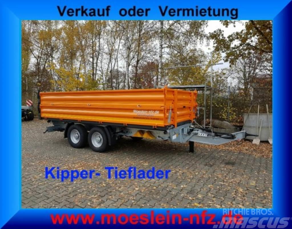 Möslein TTD11- BA Orange Tandem Kipper Tiefladermit Bordw